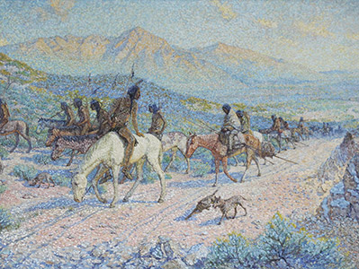 Painting: Departure of the Red Man by J. T. Harwood