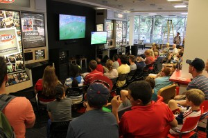 An photo of fans watching the world cup at the Union.
